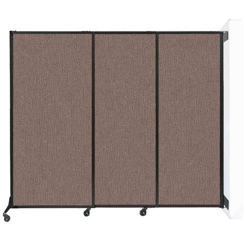 "Wall-Mounted QuickWall Sliding Partition 7' x 5'10"" Latte Fabric"