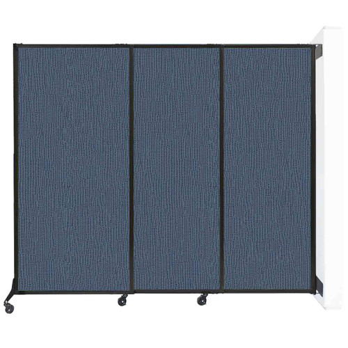 "Wall-Mounted QuickWall Sliding Partition 7' x 5'10"" Ocean Fabric"