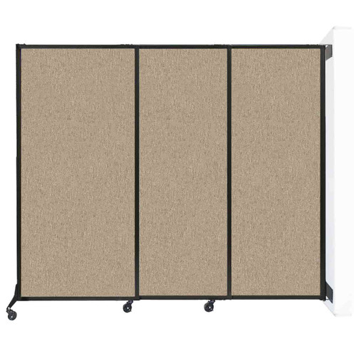"Wall-Mounted QuickWall Sliding Partition 7' x 5'10"" Rye Fabric"