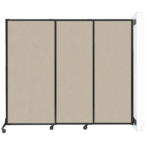 """Wall-Mounted QuickWall Sliding Partition 7' x 5'10"""" Sand Fabric"""
