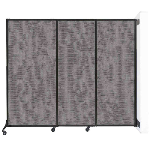 "Wall-Mounted QuickWall Sliding Partition 7' x 5'10"" Slate Fabric"