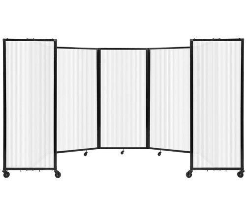 Room Divider 360 Folding Portable Partition 14' x 6' Opal Fluted Polycarbonate