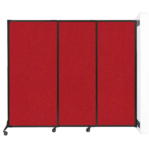 """Wall-Mounted QuickWall Sliding Partition 7' x 5'10"""" Red Fabric"""