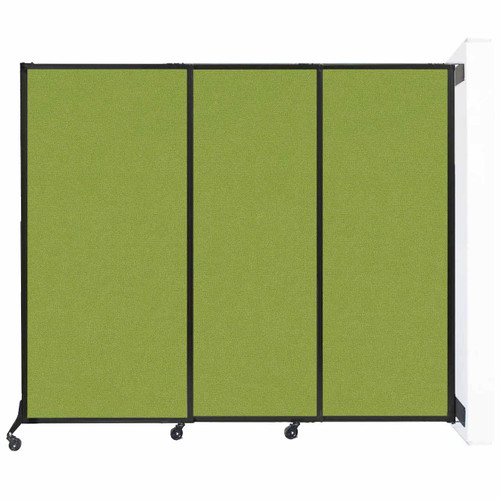 """Wall-Mounted QuickWall Sliding Partition 7' x 5'10"""" Lime Green Fabric"""