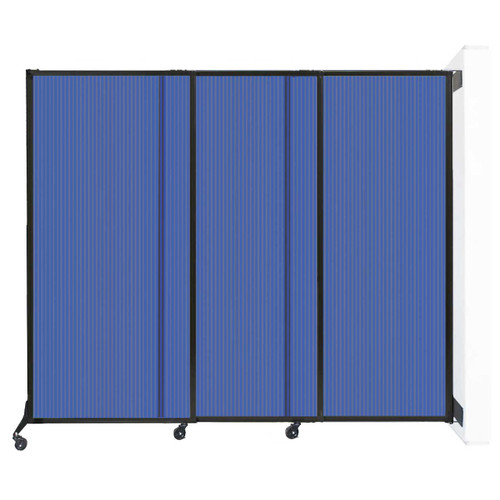 """Wall-Mounted QuickWall Sliding Partition 7' x 5'10"""" Blue Polycarbonate"""