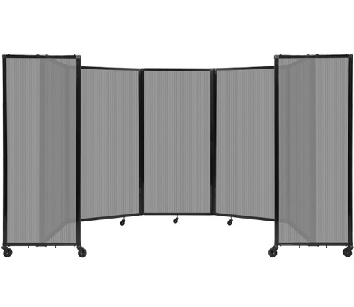 Room Divider 360 Folding Portable Partition 14' x 6' Light Gray Fluted Polycarbonate