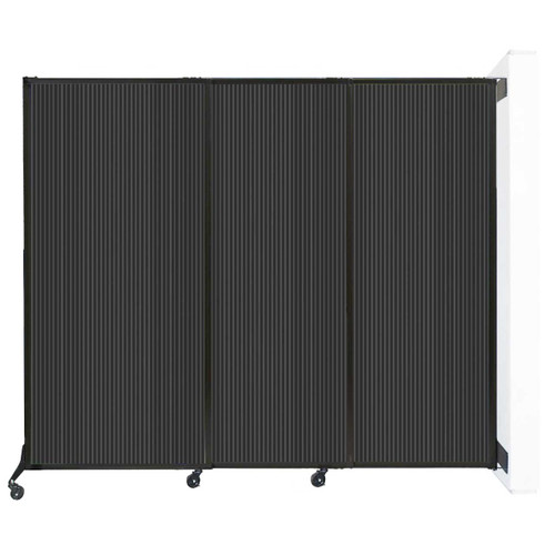 """Wall-Mounted QuickWall Sliding Partition 7' x 5'10"""" Dark Gray Polycarbonate"""