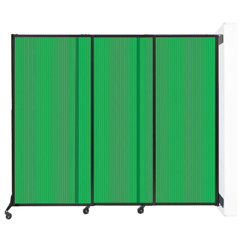 "Wall-Mounted QuickWall Sliding Partition 7' x 5'10"" Green Polycarbonate"