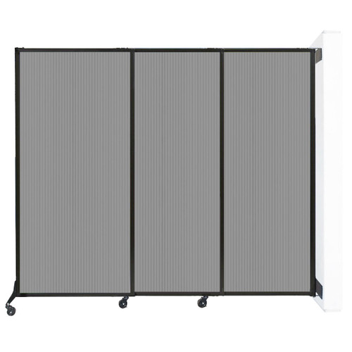 """Wall-Mounted QuickWall Sliding Partition 7' x 5'10"""" Light Gray Polycarbonate"""