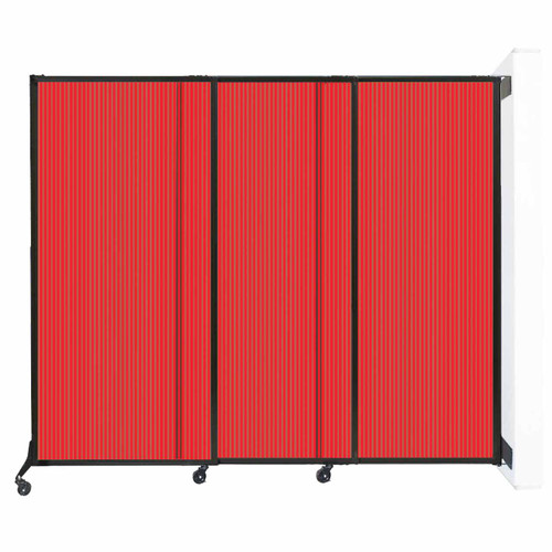 """Wall-Mounted QuickWall Sliding Partition 7' x 5'10"""" Red Polycarbonate"""