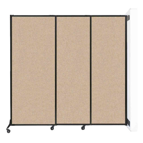 "Wall-Mounted QuickWall Sliding Partition 7' x 6'8"" Beige Fabric"