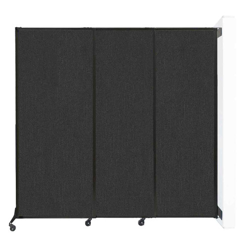 "Wall-Mounted QuickWall Sliding Partition 7' x 6'8"" Black Fabric"