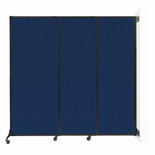 """Wall-Mounted QuickWall Sliding Partition 7' x 6'8"""" Navy Blue Fabric"""