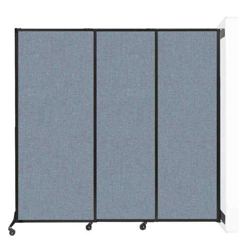 """Wall-Mounted QuickWall Sliding Partition 7' x 6'8"""" Powder Blue Fabric"""