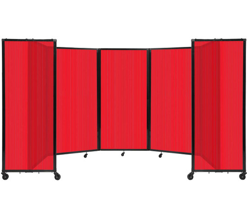 Room Divider 360 Folding Portable Partition 14' x 6' Red Fluted Polycarbonate