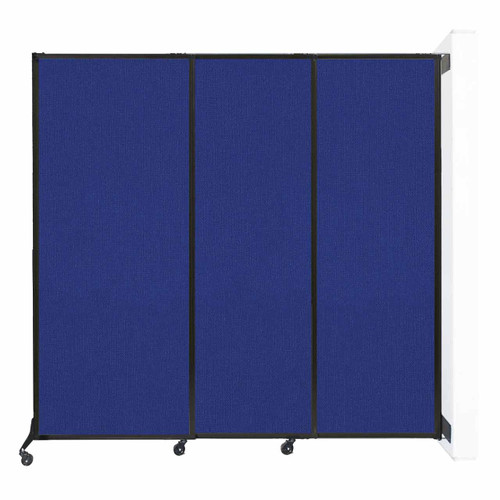 """Wall-Mounted QuickWall Sliding Partition 7' x 6'8"""" Royal Blue Fabric"""