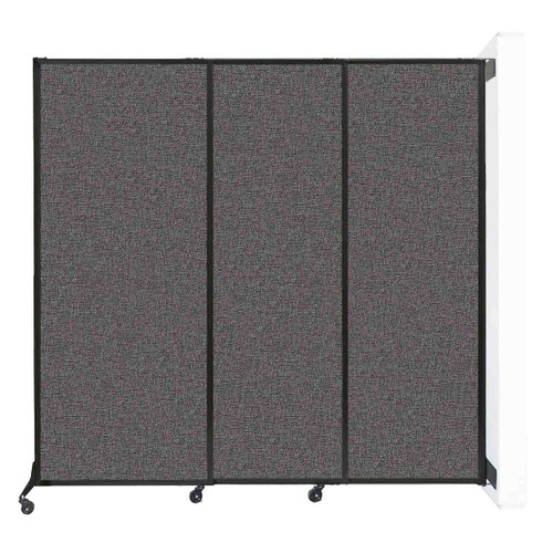 """Wall-Mounted QuickWall Sliding Partition 7' x 6'8"""" Charcoal Gray Fabric"""