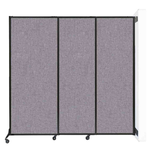"""Wall-Mounted QuickWall Sliding Partition 7' x 6'8"""" Cloud Gray Fabric"""