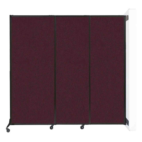 """Wall-Mounted QuickWall Sliding Partition 7' x 6'8"""" Cranberry Fabric"""