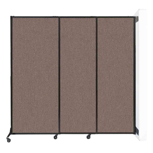 """Wall-Mounted QuickWall Sliding Partition 7' x 6'8"""" Latte Fabric"""