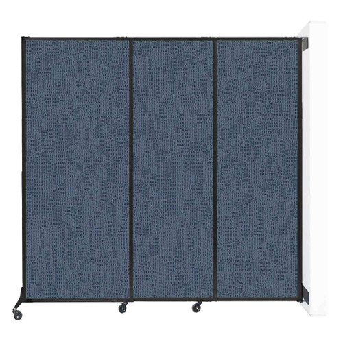 """Wall-Mounted QuickWall Sliding Partition 7' x 6'8"""" Ocean Fabric"""