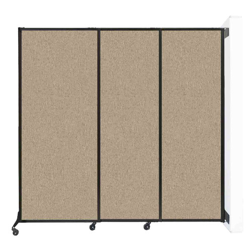 "Wall-Mounted QuickWall Sliding Partition 7' x 6'8"" Rye Fabric"