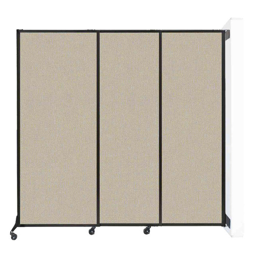 """Wall-Mounted QuickWall Sliding Partition 7' x 6'8"""" Sand Fabric"""