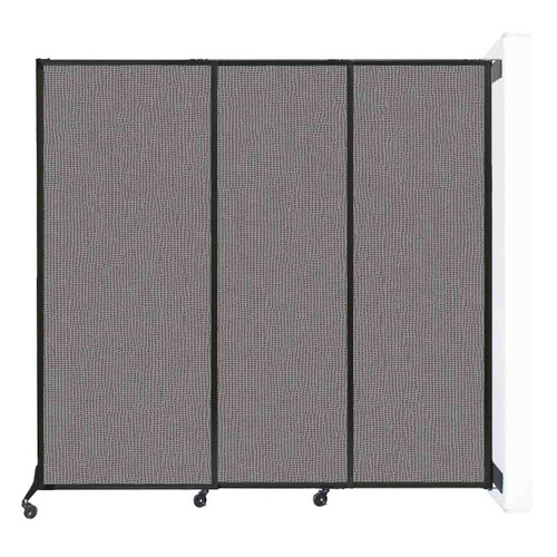 "Wall-Mounted QuickWall Sliding Partition 7' x 6'8"" Slate Fabric"