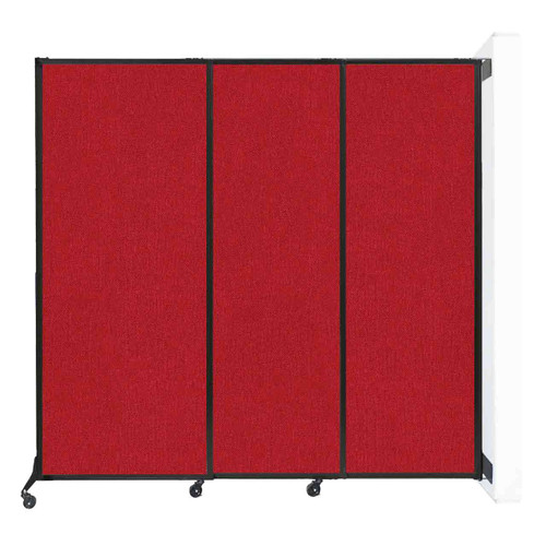 "Wall-Mounted QuickWall Sliding Partition 7' x 6'8"" Red Fabric"
