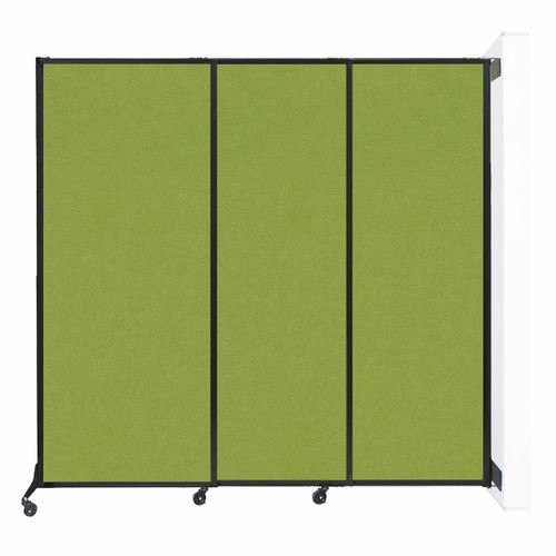 """Wall-Mounted QuickWall Sliding Partition 7' x 6'8"""" Lime Green Fabric"""
