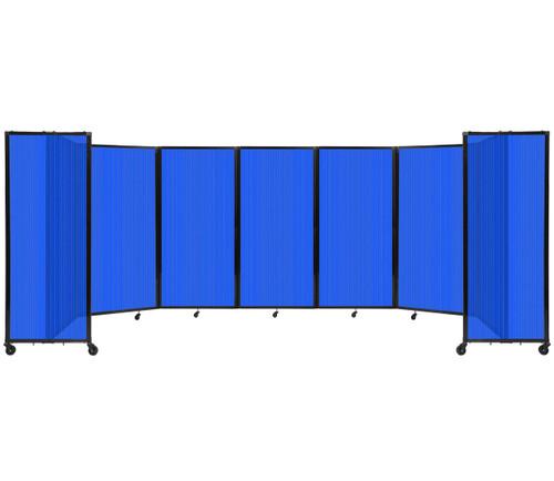 "Room Divider 360 Folding Portable Partition 19'6"" x 6' Blue Fluted Polycarbonate"