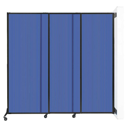"Wall-Mounted QuickWall Sliding Partition 7' x 6'8"" Blue Polycarbonate"