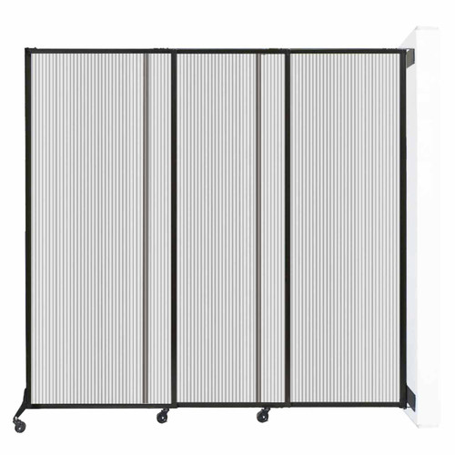 "Wall-Mounted QuickWall Sliding Partition 7' x 6'8"" Clear Polycarbonate"
