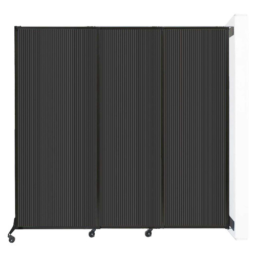 """Wall-Mounted QuickWall Sliding Partition 7' x 6'8"""" Dark Gray Polycarbonate"""
