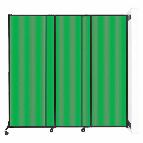 "Wall-Mounted QuickWall Sliding Partition 7' x 6'8"" Green Polycarbonate"