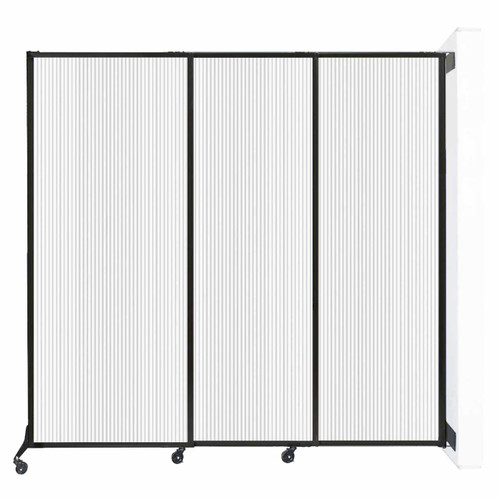 "Wall-Mounted QuickWall Sliding Partition 7' x 6'8"" Opal Polycarbonate"