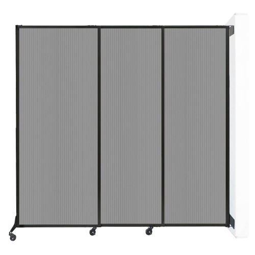 """Wall-Mounted QuickWall Sliding Partition 7' x 6'8"""" Light Gray Polycarbonate"""