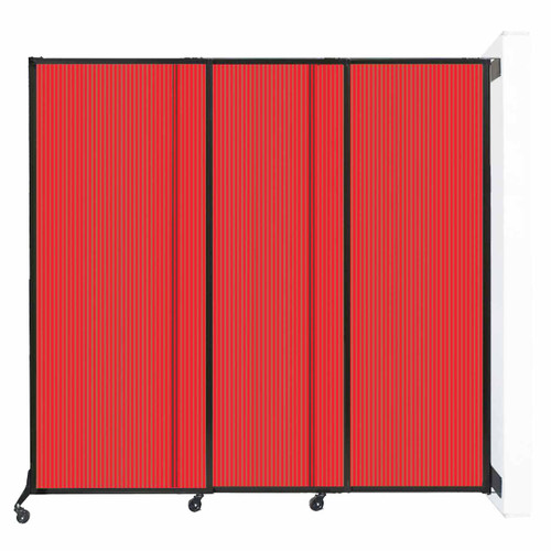 "Wall-Mounted QuickWall Sliding Partition 7' x 6'8"" Red Polycarbonate"