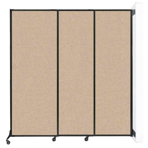 """Wall-Mounted QuickWall Sliding Partition 7' x 7'4"""" Beige Fabric"""