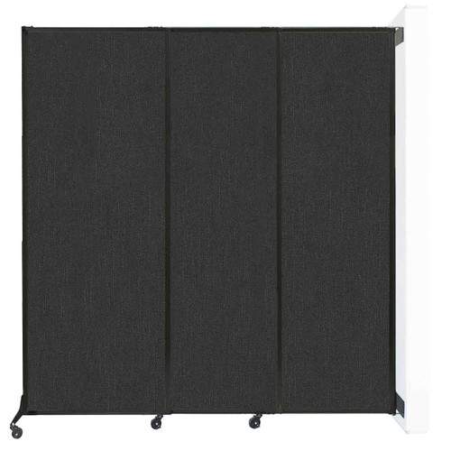"Wall-Mounted QuickWall Sliding Partition 7' x 7'4"" Black Fabric"