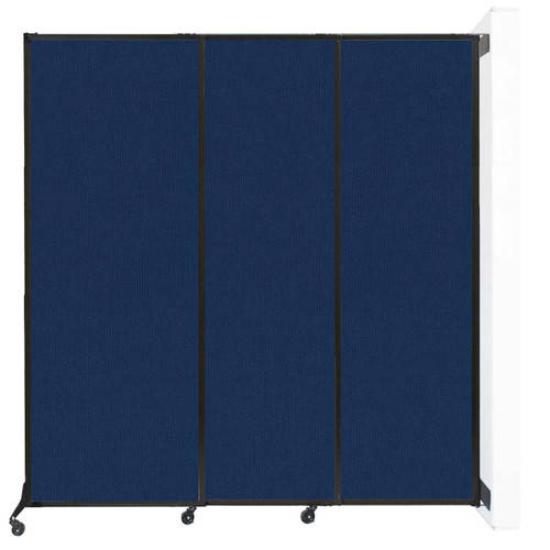 """Wall-Mounted QuickWall Sliding Partition 7' x 7'4"""" Navy Blue Fabric"""
