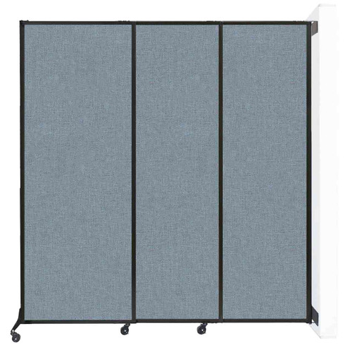 """Wall-Mounted QuickWall Sliding Partition 7' x 7'4"""" Powder Blue Fabric"""