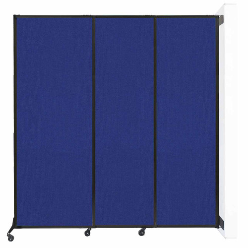 """Wall-Mounted QuickWall Sliding Partition 7' x 7'4"""" Royal Blue Fabric"""