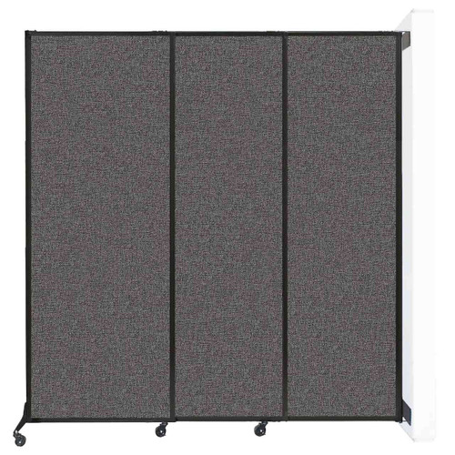 """Wall-Mounted QuickWall Sliding Partition 7' x 7'4"""" Charcoal Gray Fabric"""
