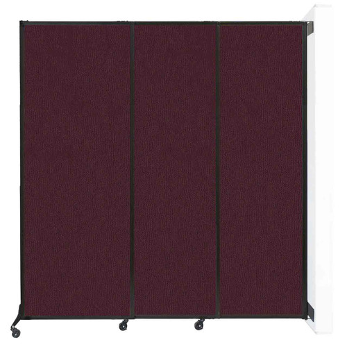 "Wall-Mounted QuickWall Sliding Partition 7' x 7'4"" Cranberry Fabric"