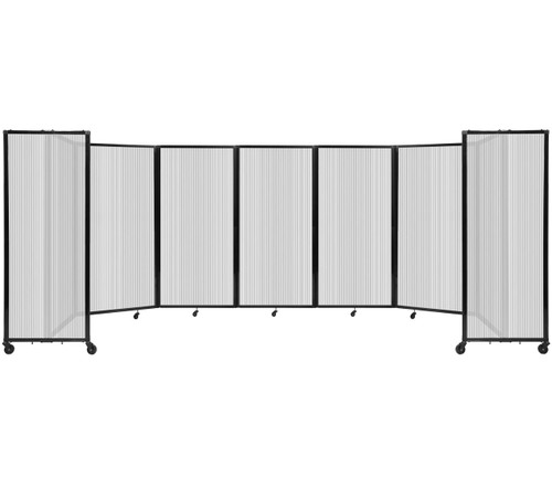 """Room Divider 360 Folding Portable Partition 19'6"""" x 6' Clear Fluted Polycarbonate"""