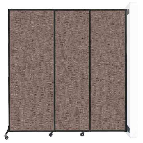 """Wall-Mounted QuickWall Sliding Partition 7' x 7'4"""" Latte Fabric"""