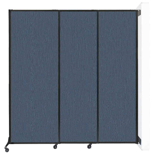 "Wall-Mounted QuickWall Sliding Partition 7' x 7'4"" Ocean Fabric"