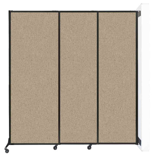 "Wall-Mounted QuickWall Sliding Partition 7' x 7'4"" Rye Fabric"