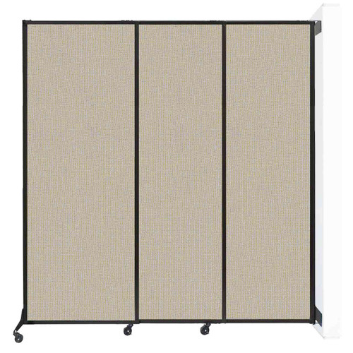 """Wall-Mounted QuickWall Sliding Partition 7' x 7'4"""" Sand Fabric"""